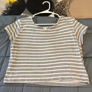 Forever 21 grey/white striped midi top size M